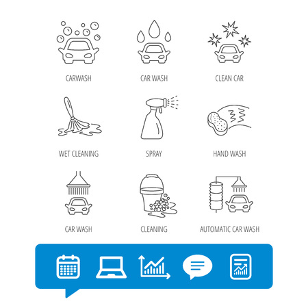 Car wash icons. Automatic cleaning station linear signs. Bucket with foam bubbles, sponge and spray flat line icons. Report file, Graph chart and Chat speech bubble signs. Vector