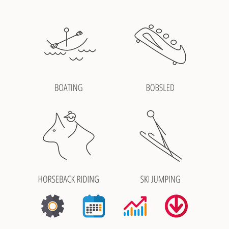 Boating, horseback riding and bobsled icons. Ski jumping linear sign. Calendar, Graph chart and Cogwheel signs.