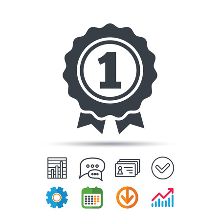 Award medal icon. Winner emblem symbol. Statistics chart, chat speech bubble and contacts signs.