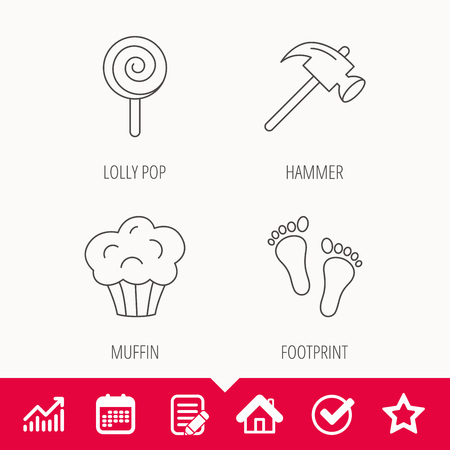 Footprint, lolly pop and muffin icons. Hammer linear sign.
