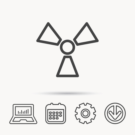 Radiation icon. Radiology sign. Notebook, Calendar and Cogwheel signs. Download arrow web icon.