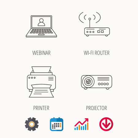 Printer, wi-fi router and projector icons. Webinar linear sign. Calendar, Graph chart and Cogwheel signs.