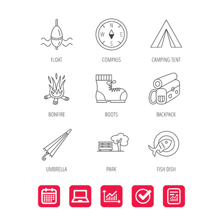 Park, fishing float and hiking boots icons. Compass, umbrella and bonfire linear signs. Illustration