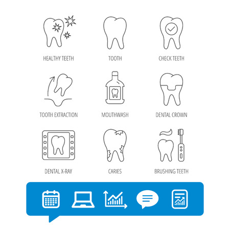 Tooth, dental crown and mouthwash icons. Caries, tooth extraction and hygiene linear signs. Brushing teeth flat line icon.