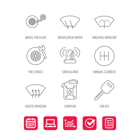 Manual gearbox, tire service and car key icons. Siren alarm, jerrycan and wheel pressure linear signs.