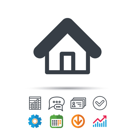 Home icon. House building symbol. Real estate construction. Statistics chart, chat speech bubble and contacts signs. Check web icon. Vector