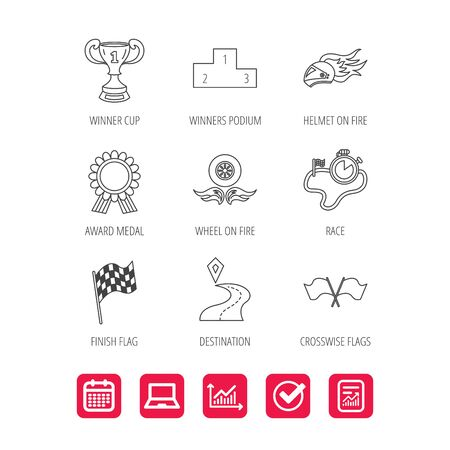 Winner cup and podium, award medal icons. Illustration