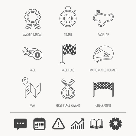 Race flag and speed icons.