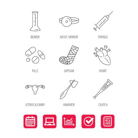 Syringe, beaker and pills icons.