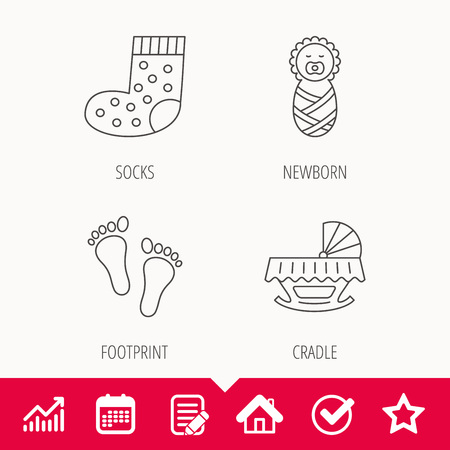 Footprint, cradle and newborn baby icons. Socks linear sign.