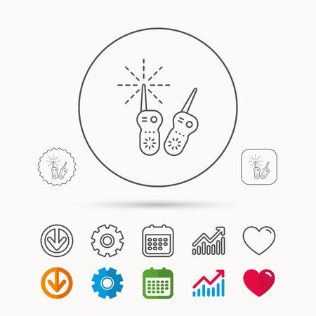 아기 모니터 아이콘입니다. 신생아 사인 유모. 라디오 설정 기호. 달력, 그래프 차트 및 톱니 기호. 다운로드 및 심장 사랑 선형 웹 아이콘. 벡터