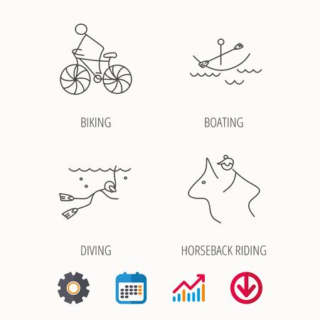 Diving, biking and horseback riding icons.