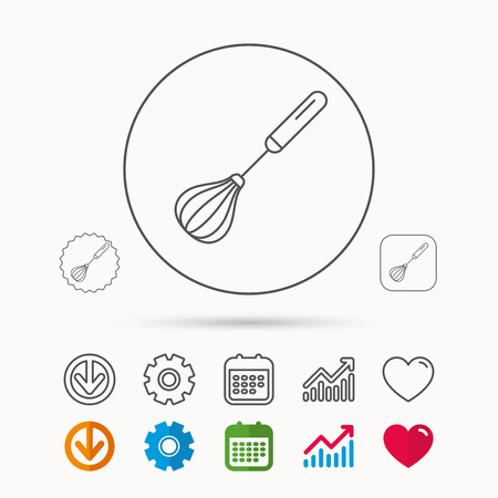Whisk icon. Kitchen tool sign. Kitchenware whisking beater symbol. Calendar, Graph chart and Cogwheel signs. Vectores