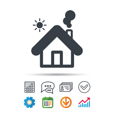 Home icon. House building symbol.