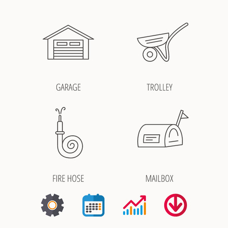 Mailbox, garage and fire hose icons. Trolley linear sign. Illustration