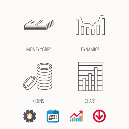 Cash money and dynamics chart icons. Coins linear sign.
