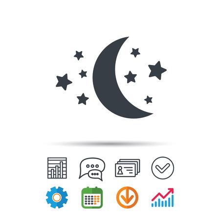 Moon and stars icon. Night sleep symbol.