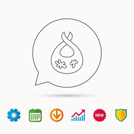 Bib with dirty spots icon. Baby clothes sign. Feeding wear symbol.