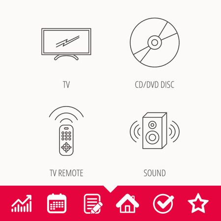TV remote, sound and DVD disc icons. Widescreen TV linear sign. Edit document, Calendar and Graph chart signs. Star, Check and House web icons. Vector