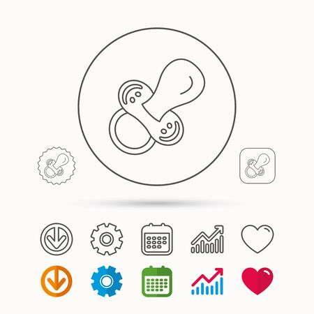 Pacifier icon. Nipple or dummy sign. Newborn child relax equipment symbol. Calendar, Graph chart and Cogwheel signs. Download and Heart love linear web icons. Vector