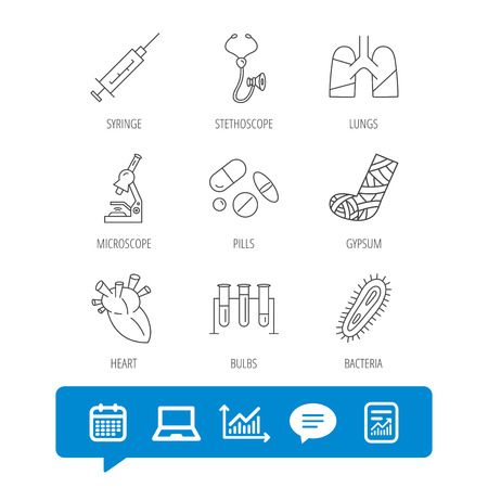 Broken foot, lungs and syringe icons. Stethoscope, pills and microscope linear signs.