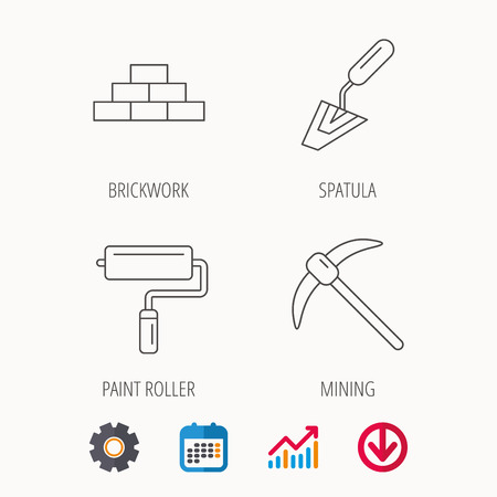Brickwork, spatula and mining icons. Paint roller linear sign.
