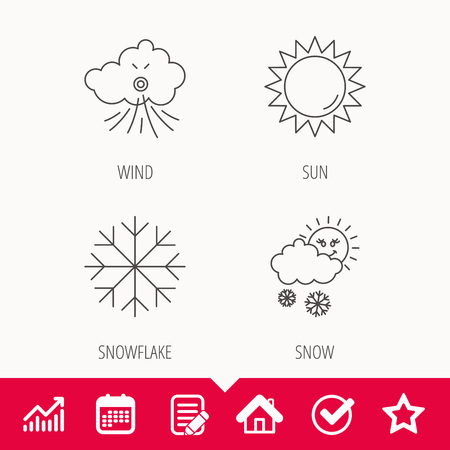 Weather, sun and snow icons. Wind and snowflake linear signs. Edit document, Calendar and Graph chart signs. Star, Check and House web icons. Vector Vectores