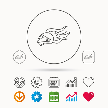 Helmet on fire icon. Motorcycle sport sign. Calendar, Graph chart and Cogwheel signs. Download and Heart love linear web icons. Vector