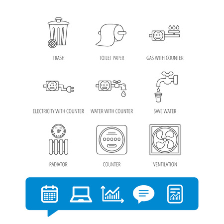 Ventilation, radiator and water counter icons. Toiler paper, gas and electricity counters linear signs. Trash icon. Report file, Graph chart and Chat speech bubble signs. Laptop and Calendar web icons Illustration