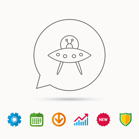 UFO icon. Unknown flying object sign. Martians symbol. Calendar, Graph chart and Cogwheel signs. Download and Shield web icons. Vector Vettoriali