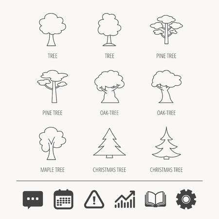 Pine tree, maple and oak icons. Christmas trees linear signs. Forest trees flat line icons. Education book, Graph chart and Chat signs. Attention, Calendar and Cogwheel web icons. Vector