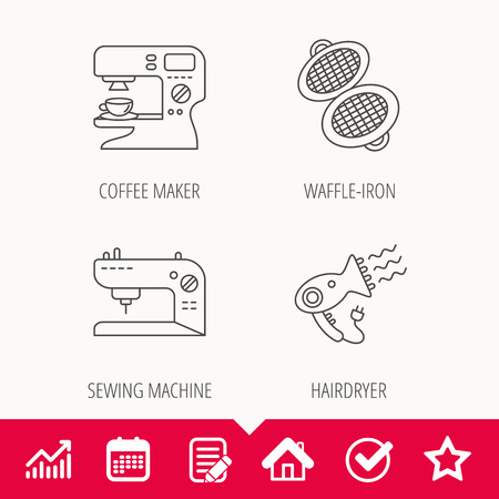 Coffee maker, sewing machine and hairdryer icons. Waffle-iron linear sign. Edit document, Calendar and Graph chart signs. Star, Check and House web icons. Vector