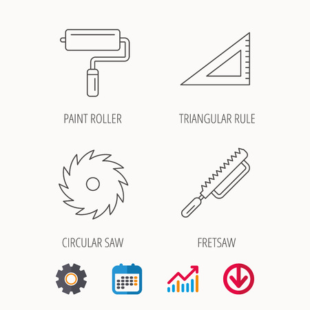Triangular rule, paint roller and fretsaw icons. Circular saw linear sign. Calendar, Graph chart and Cogwheel signs. Download colored web icon. Vector