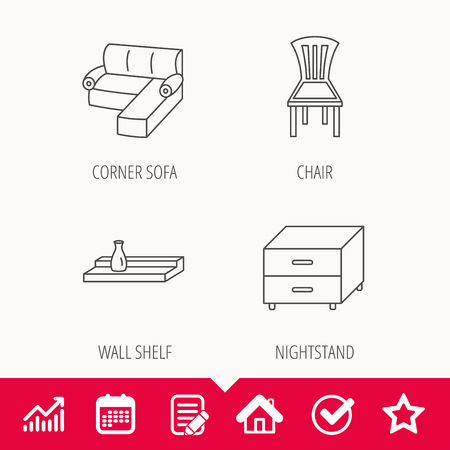 Corner sofa, nightstand and chair icons. Wall shelf linear sign. Edit document, Calendar and Graph chart signs. Star, Check and House web icons. Vector
