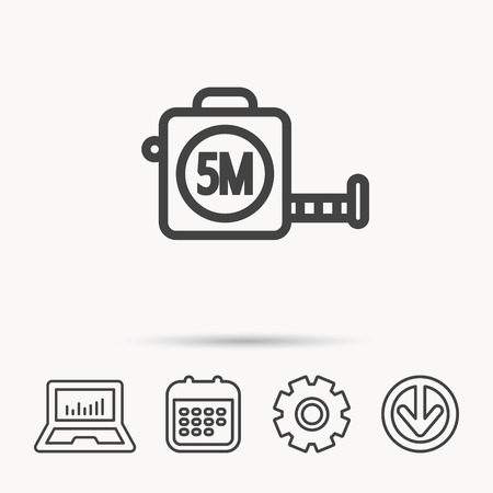 Tape measurement icon. Roll ruler sign. Notebook, Calendar and Cogwheel signs. Download arrow web icon. Vector Banque d'images - 96068060