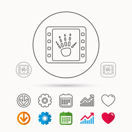 Hand X-ray icon. Human skeleton sign. Calendar, Graph chart and Cogwheel signs. Download and Heart love linear web icons. Vector