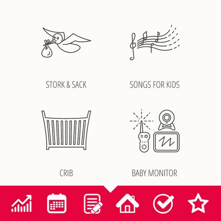 Baby monitor, crib bed and songs for kids icons. Stork and sack linear sign. Edit document, Calendar and Graph chart signs. Star, Check and House web icons. Vector Stock Vector - 96068110