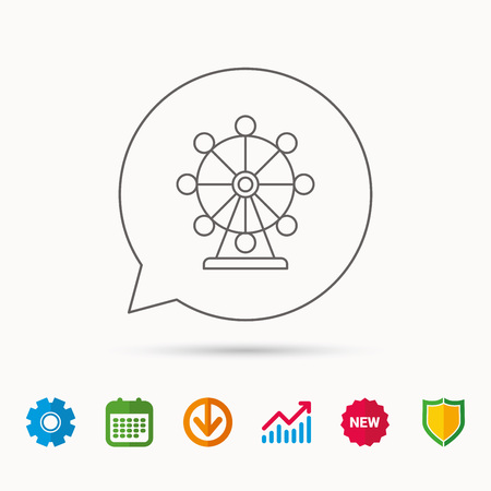 Ferris wheel icon. Entertainment park sign. Calendar, Graph chart and Cogwheel signs. Download and Shield web icons. Vector