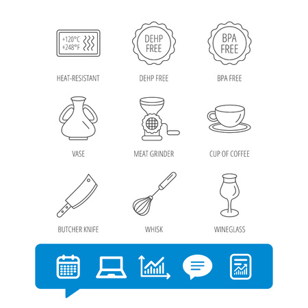 Coffee cup, butcher knife and wineglass icons. Meat grinder, whisk and vase linear signs. Heat-resistant, DEHP and BPA free icons. Report file, Graph chart and Chat speech bubble signs. Vector