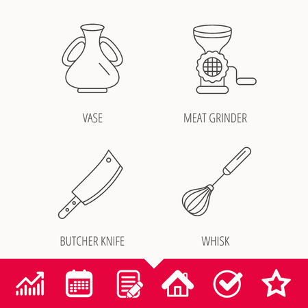 Meat grinder, butcher knife and whisk icons. Vase linear sign. Edit document, Calendar and Graph chart signs. Star, Check and House web icons. Vector