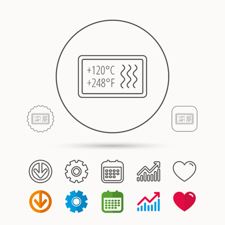 Heat resistant icon. Microwave or dishwasher information sign. Attention symbol. Calendar, Graph chart and Cogwheel signs. Download and Heart love linear web icons. Vector