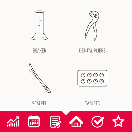 Lab beaker, tablets and dental pliers icons. Scalpel linear sign. Edit document, Calendar and Graph chart signs. Star, Check and House web icons. Vector