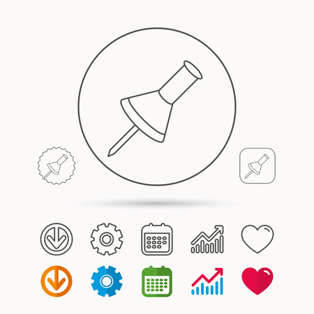 Pushpin icon. Pin tool sign. Office stationery symbol. Calendar, Graph chart and Cogwheel signs. Download and Heart love linear web icons. Vector Illustration