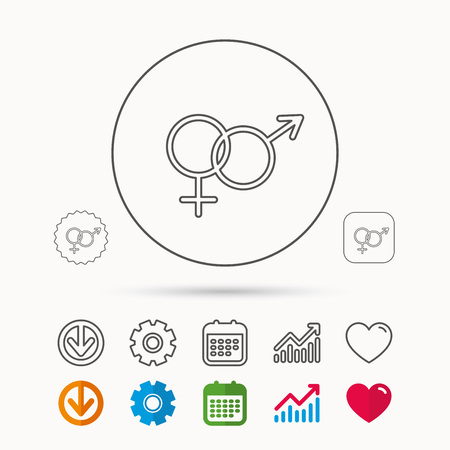 Male and female icon. Traditional sexuality sign. Calendar, Graph chart and Cogwheel signs. Download and Heart love linear web icons. Vector