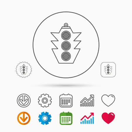Traffic light icon. Safety direction regulate sign. Calendar, Graph chart and Cogwheel signs. Download and Heart love linear web icons. Vector Vectores