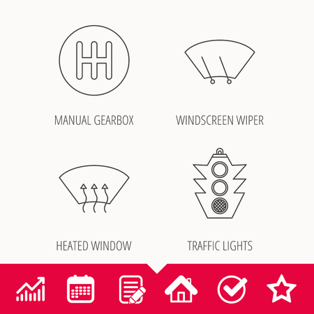 Traffic lights, manual gearbox and wiper icons. Heated window, manual transmission linear signs. Washing window icon. Edit document, Calendar and Graph chart signs. Star, Check and House web icons Illustration