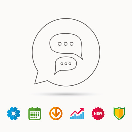 Chat icon. Comment message sign. Dialog speech bubble symbol. Calendar, Graph chart and Cogwheel signs. Download and Shield web icons. Vector Ilustração