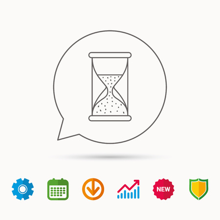 Hourglass icon. Sand time sign. Half an hour symbol. Calendar, Graph chart and Cogwheel signs. Download and Shield web icons. Vector