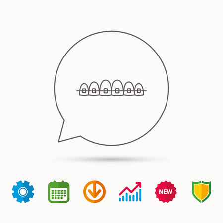 Dental braces icon. Teeth healthcare sign. Orthodontic symbol. Calendar, Graph chart and Cogwheel signs. Download and Shield web icons. Vector 向量圖像