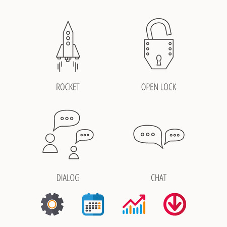 Rocket, chat speech bubble and open lock icons. Calendar, Graph chart and Cogwheel signs. Download colored web icon. Vector